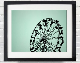 Ferris Wheel Silhouette Poster or Canvas, You choose the size and color, nostalgic, classic, icon, carnival, housewarming gift, kids decor