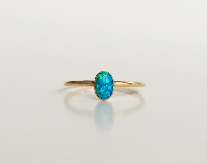 Peacock Blue Opal Gold Filled Ring - Oval