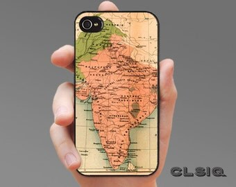 Vintage India Map iPhone Case for iPhone 6, iPhone 5/5s, or iPhone 4/4s, Samsung Galaxy S6, Galaxy S5, Galaxy S4, Galaxy S3
