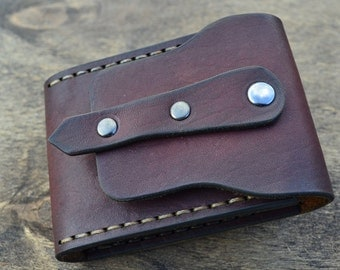 Leather Wallet-Men Wallet-Leather Card Holder Leather-Handmade Color cognac