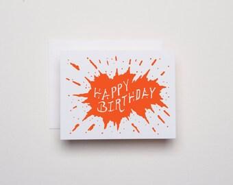 Splat Birthday - Letterpress Birthday Card