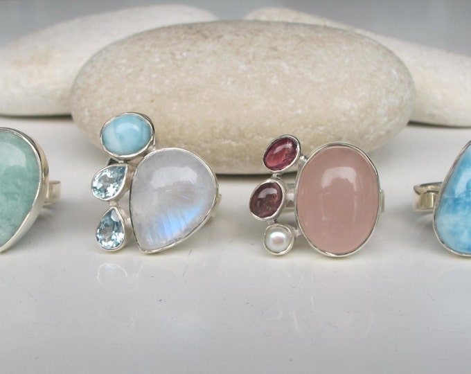Birthstone Ring- Amazonite Ring- Blue Topaz Ring- Moonstone Ring- Green Amethyst Ring- June February March December Birthstone