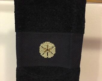 Hand Towel - Sand Dollar Towel - Cross Stitch Towel - Beach House Towel - Navy Hand Towel - Guest Towel - Kitchen Towel