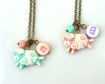 Sheep necklace, sheep charm, Girl Necklace, sheep, 3,4,5,6,7,8,9 year old birthday gift, letter charm girl jewelry, fun and colorful gifts