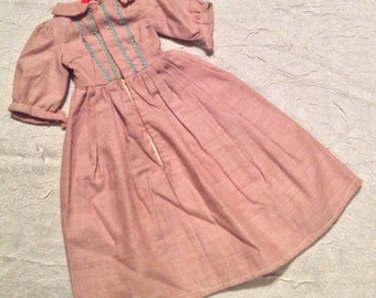 Vintage Hand Made 1920's Doll Dress with Bric Brac On Front with Snap Front