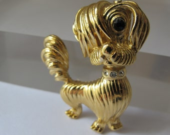 """Designer """"PUPPY LOVE"""" Dog Costume Jewelry Gold-Tone Brooch Pin/ One Eyed Dog Pup Canine/ Signed Gerry's Vintage 60's Terrier Dog Jewelry Pin"""