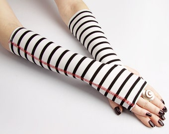 Cozy Black and White striped fingerless gloves  - mittens victorian goth yoga stripes cycling arm warmers