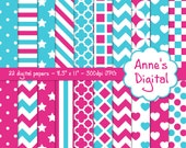 "Pink and Aqua Digital Papers - Matching Solids Included - 22 Papers - 8.5"" x 11"" - Instant Download - Commercial Use (044)"