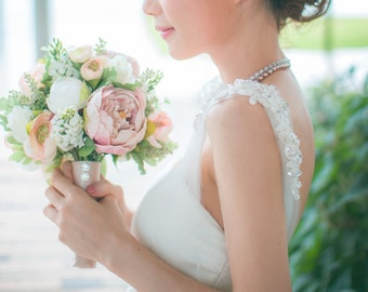 Bridal Bouquet, White and Antique Pink Peonies & Roses wedding bouquet