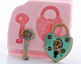 Heart Shaped Padlock Silicone Mold - Food Safe Fondant Gum Paste Chocolate Mint Mold - Jewelry Resin Polymer Clay Epoxy Clay Mold (863