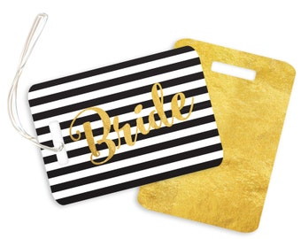 Bride // Faux Gold Foil // Black White Striped // Wedding Gift // Honeymoon // Luggage Tag