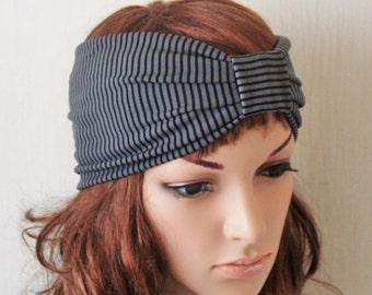 Grey black stretchy jersey striped turban headband, modish hair covering, fashion hair band , elegant ear warmer, M size