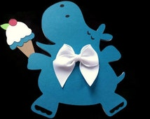 Turquoise Hippo Holding a Double Scoop Ice Cream Cone - Hippo Shaped Card - Animal Card - Paper Hippo - Birthday Card