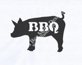 BBQ Pig Metal Sign