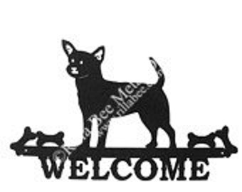 Chihuahua Puppy Metal Welcome Sign