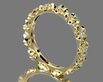 14 Carat Yellow Gold Flower Wedding Band With Accent Diamond