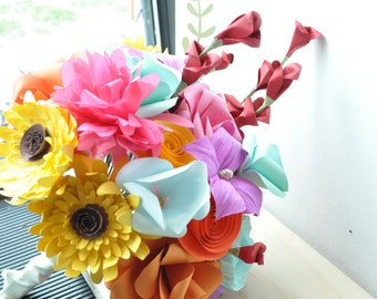 Paper flower wedding Bouquet,  alternative bouquet, summer wedding bouquet, colorful wedding