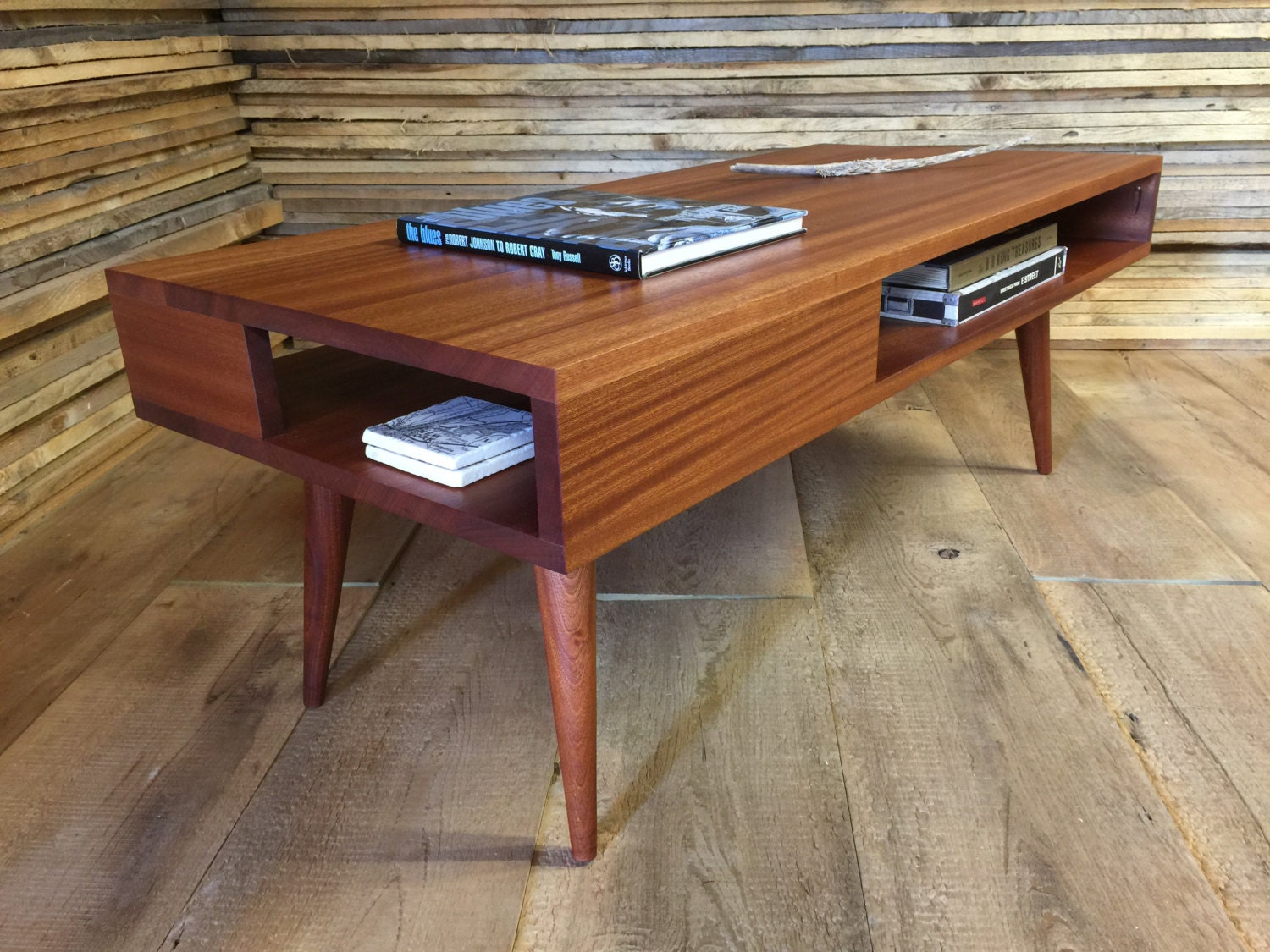 Thin man mid century modern coffee table with storage for Mid century modern coffee table