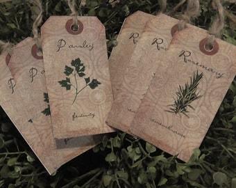 Primitive Herbs Rosemary & Parsley Hang Tags (Set of 6) FREE SHIPPING