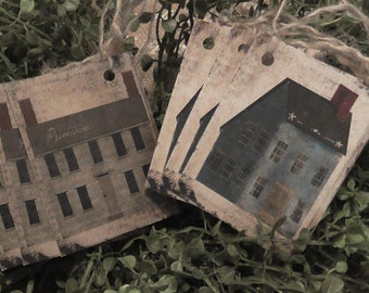 Primitive House 1803 Grey & Blue Saltbox Hang Tags