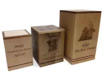 Custom Wood Photo Engraved Pet Urns