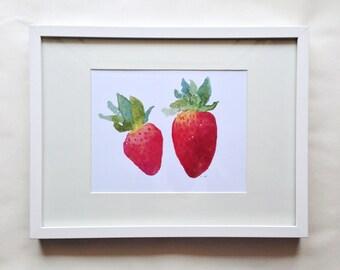 Strawberries Watercolor Print