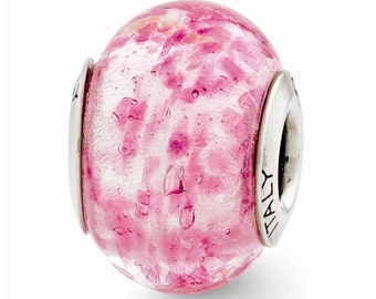 Sterling Silver Pink Italian Murano Glass Bead