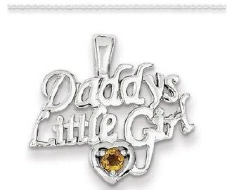Sterling Silver Citrine Daddy's Little Girl Pendant with Silver Chain