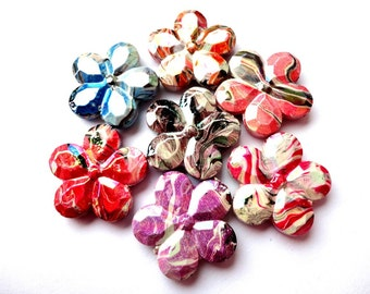 10 Multicolor Acrylic Beads Flower Shape Beads 30 mm Beads Jewelry making suppliews