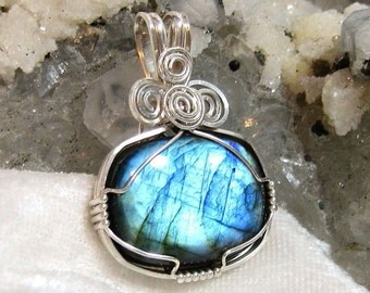 Blue Flash Labradorite Pendant Rectangle East West Wire Wrapped in Sterling Silver 930 Argentium Anti Tarnish