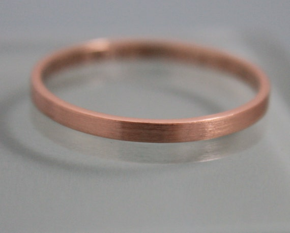 Rose Gold Wedding Band 2mm Brushed 14k Solid Classic Rectangle