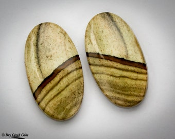 Picture Jasper Matched Pair cabochons