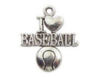 I Love Baseball Sports Charm, 5 Pieces, for Charm Bracelets, Jewelry Making, Jewelry Supplies, Beading Supplies - C9115