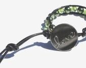 Earthy tone olive Green single beaded wrap bracelet, Natural black leather, Earth tone, , Love bracelet