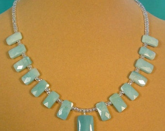 """Amazing 17"""" Baby Blue AMAZONITE and sparkling glass Necklace - N377"""