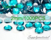 2mm/1000pcs Peacock Blue color Flatback Rhinestone Crystal accessories material supplies