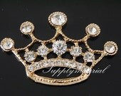 1PCS 60x40mm Golden Crystal Crown Flatback Alloy jewelry Accessories materials supplies