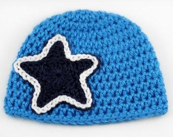 Blue Star Baby Beanie // Newborn Crochet Hat