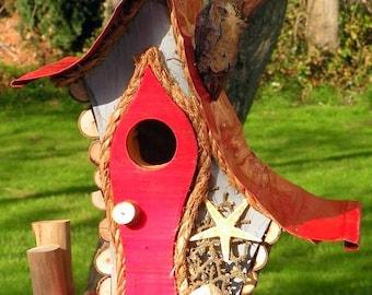 bird house, Nautical birdhouse, functional birdhouse, garden art, rustic beach art, made to order in color options, gift, custom birdhouse