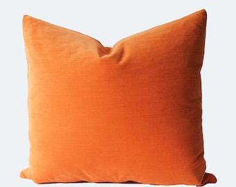 Decorative Orange Velvet, Throw Pillow, 18x18, 20x20, 22x22 or Lumbar Accent Pillow