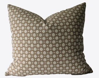 Decorative Designer Brown Beige Mocha Dot Pillow Cover 18x18, 20x20, 22x22 or Lumbar Throw Pillow