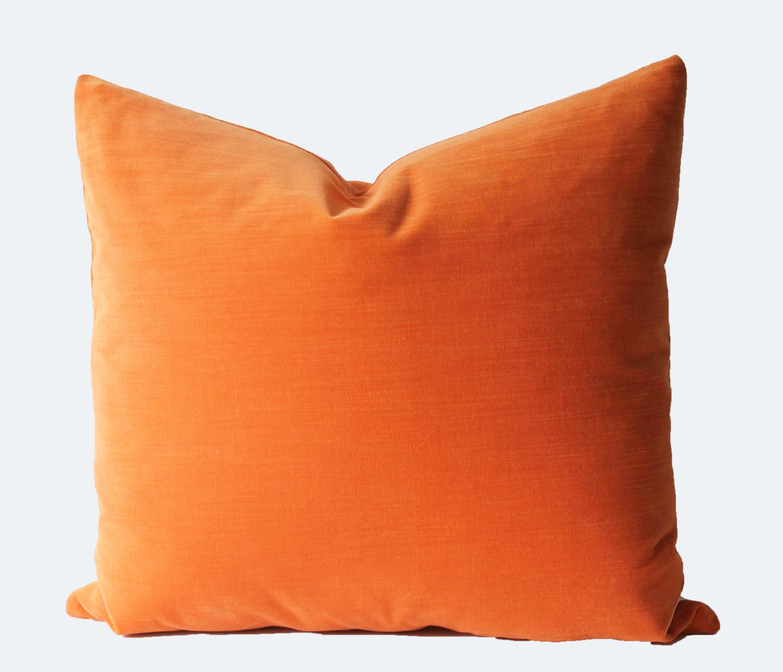 Orange Velvet Throw Pillows : Decorative Orange Velvet Throw Pillow 18x18 20x20 22x22 or