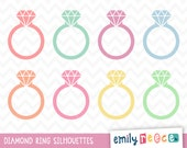 80% OFF SALE Diamond Ring Engagement Silhouette Diamond Cute Clip Art, Instant Download, Commercial Use