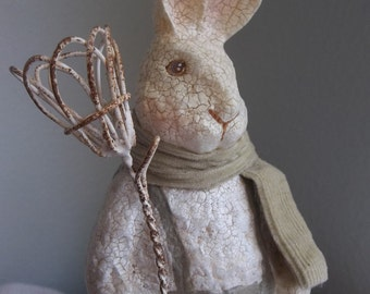 Garden bunny French shabby cottage decor sage green cream