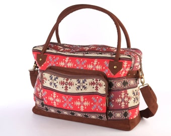 Southwestern Lightweight Baggage, Navajo Travel Bag, Weekender Bag, Overnight Bag, Duffel Bag