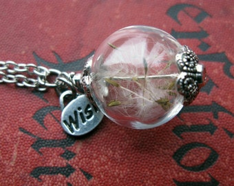 Dandelion Seed Necklace - dandelion seeds in glass orb - Wish Pendant - Pressed Flower Jewelry - Dandelion Pendant - Gift for Her