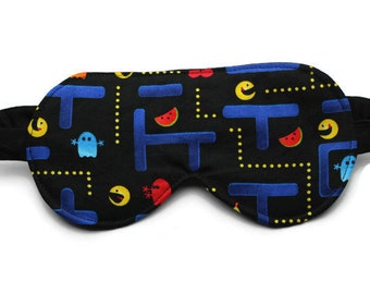 Men's Sleep Mask, Travel Accessory, Eye Mask, Pac Man, Pacman, 80s Arcade Video Game, Gift for Man, Father's Day, Black, Made in Canada