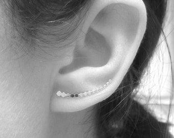 Bar Pin Earrings, Beaded Cuff, Bar Ear Sweep, Wire Ear Wrap, Cuff Earring, Minimalistic, Silver Ear Pin, Ear Pin, Curved \Bar Sweep, Line