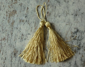Yellow gold silky tassels - one pair, tassels for malas, jewelry, garments, accessories, home decor, yellow gold tassels, craft supplies - 2