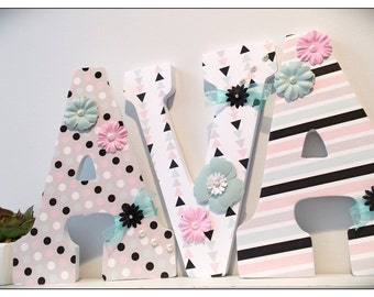 Tribal Aztec Nursery. Letters. Aztec. Pink and Mint. Wood Letters. Geometric Nursery. Baby Girl Nursery. Pink and Gray. Bedroom wall letters